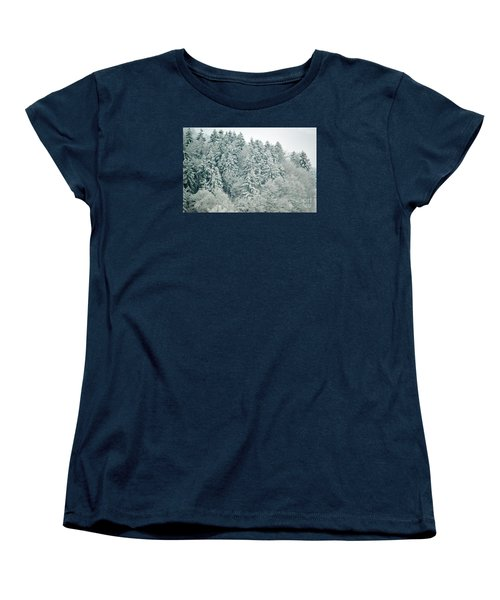 Women's T-Shirt (Standard Cut) featuring the photograph Christmas Forest - Winter In Switzerland by Susanne Van Hulst