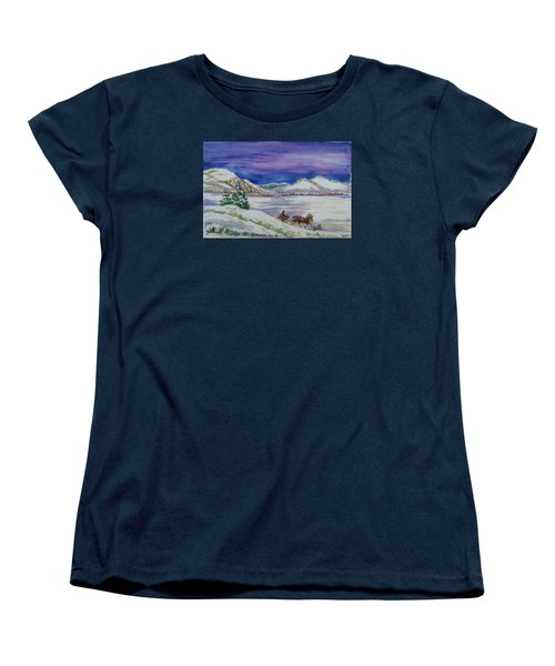 Women's T-Shirt (Standard Cut) featuring the painting Christmas Sleigh by Dawn Senior-Trask