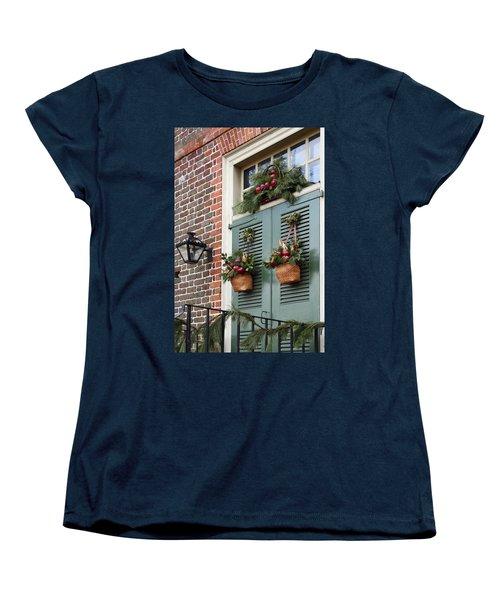 Christmas Welcome Women's T-Shirt (Standard Cut) by Sally Weigand