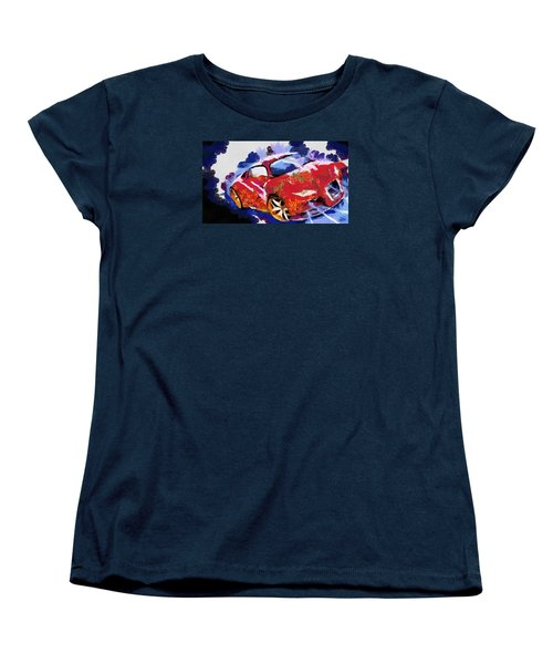 Women's T-Shirt (Standard Cut) featuring the painting Chubby Car Red by Catherine Lott