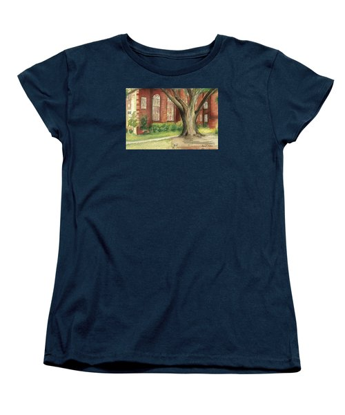 Women's T-Shirt (Standard Cut) featuring the painting Church Tree by Denise Fulmer