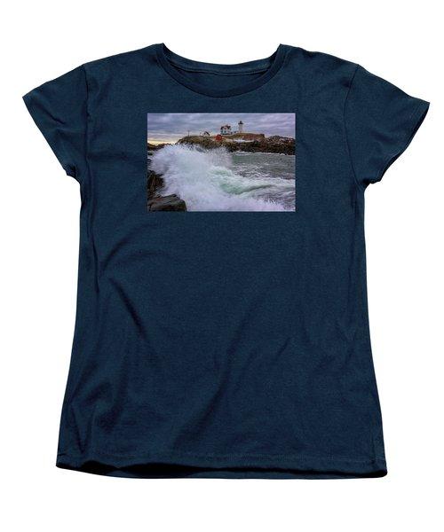 Women's T-Shirt (Standard Cut) featuring the photograph Churning Seas At Cape Neddick by Rick Berk