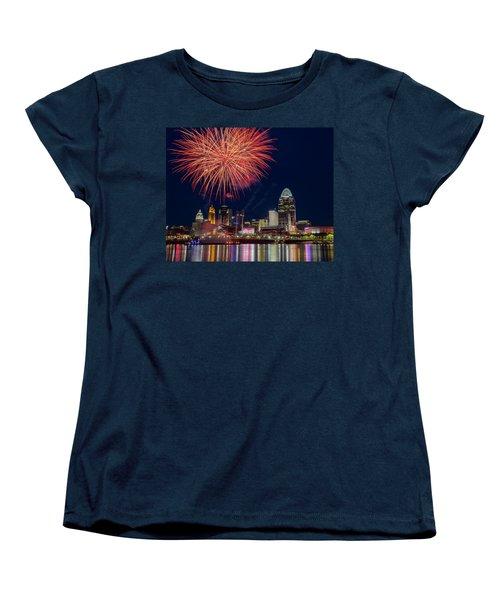 Cincinnati Fireworks Women's T-Shirt (Standard Cut) by Scott Meyer