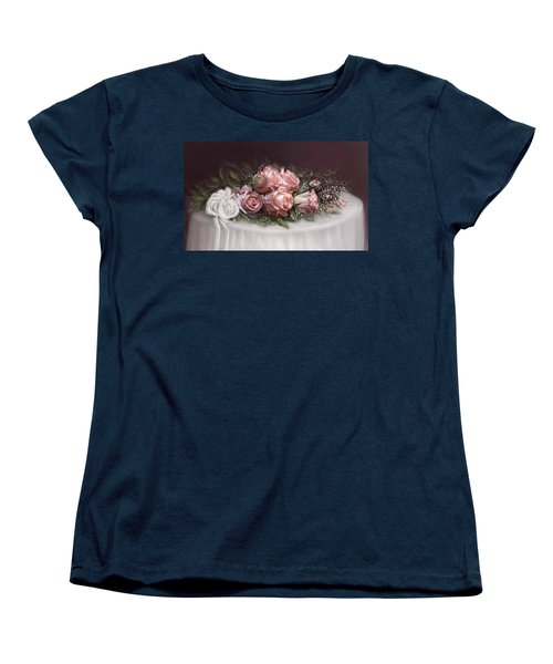 Women's T-Shirt (Standard Cut) featuring the painting Spray Of  Roses by Bonnie Willis