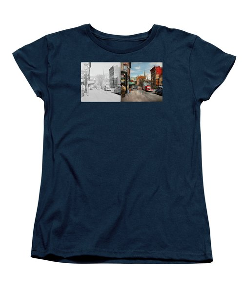 Women's T-Shirt (Standard Cut) featuring the photograph City - Amsterdam Ny - Downtown Amsterdam 1941- Side By Side by Mike Savad