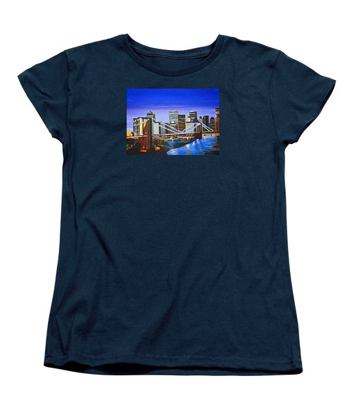 City At Twilight Women's T-Shirt (Standard Cut) by Donna Blossom