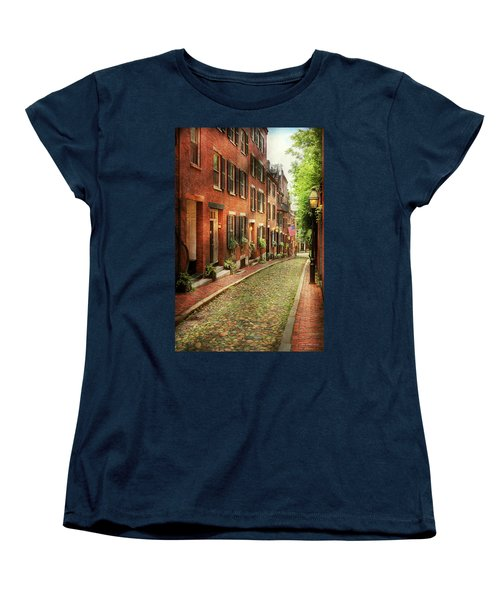 Women's T-Shirt (Standard Cut) featuring the photograph City - Boston Ma - Acorn Street by Mike Savad