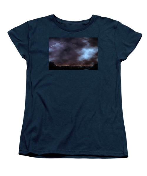 Women's T-Shirt (Standard Cut) featuring the photograph City Lights Night Strike by James BO Insogna