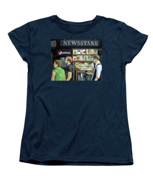 Women's T-Shirt (Standard Cut) featuring the painting City Newsstand - People On The Street Painting by Linda Apple