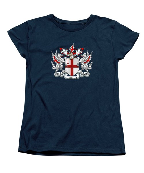 City Of London - Coat Of Arms Over Blue Leather  Women's T-Shirt (Standard Fit)