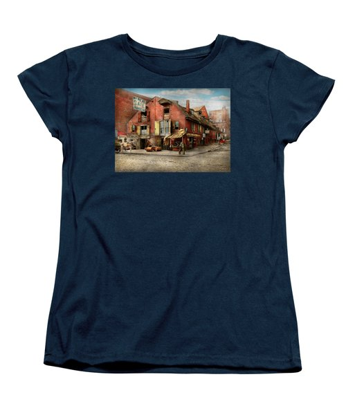 Women's T-Shirt (Standard Cut) featuring the photograph City - Pa - Fish And Provisions 1898 by Mike Savad