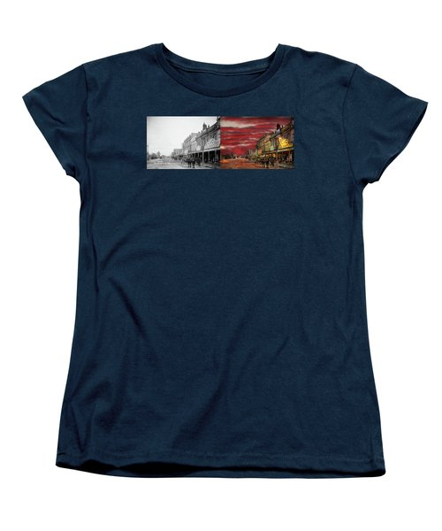 Women's T-Shirt (Standard Cut) featuring the photograph City - Palmerston North Nz - The Shopping District 1908 - Side By Side by Mike Savad