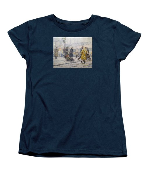 Women's T-Shirt (Standard Cut) featuring the painting City Snow Ride by Donna Tucker