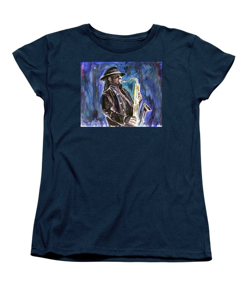 Women's T-Shirt (Standard Cut) featuring the painting Clarence Clemons by Clara Sue Beym