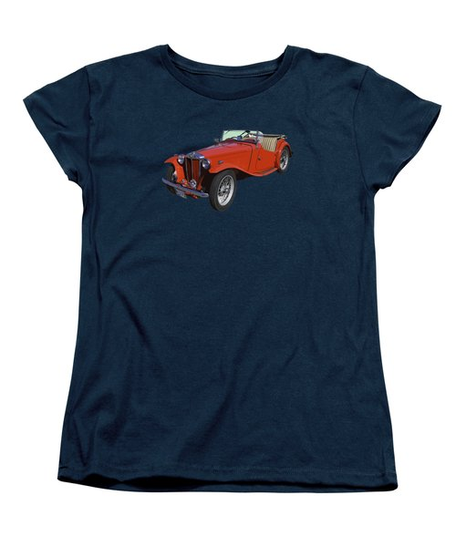 Classic Red Mg Tc Convertible British Sports Car Women's T-Shirt (Standard Cut) by Keith Webber Jr