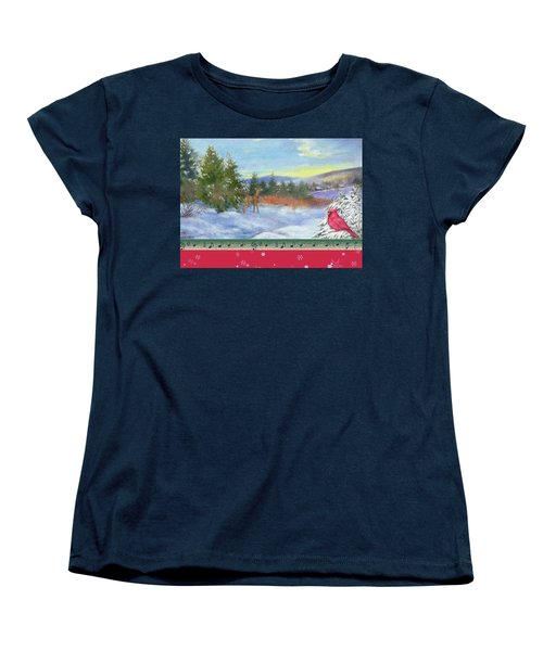 Classic Winterscape With Cardinal And Reindeer Women's T-Shirt (Standard Cut) by Judith Cheng