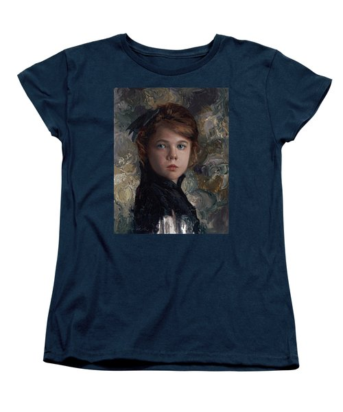 Women's T-Shirt (Standard Cut) featuring the painting Classical Portrait Of Young Girl In Victorian Dress by Karen Whitworth