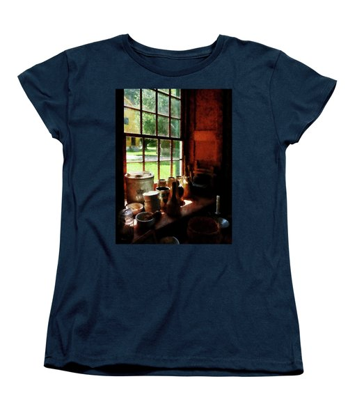 Women's T-Shirt (Standard Cut) featuring the photograph Clay Jars On Windowsill by Susan Savad