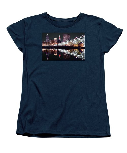 Women's T-Shirt (Standard Cut) featuring the photograph Cle In Selective Color by Frozen in Time Fine Art Photography