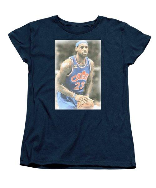 Cleveland Cavaliers Lebron James 1 Women's T-Shirt (Standard Cut) by Joe Hamilton