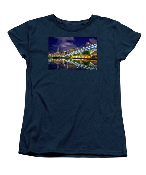 Women's T-Shirt (Standard Cut) featuring the photograph Cleveland Skyline 4 by Emmanuel Panagiotakis