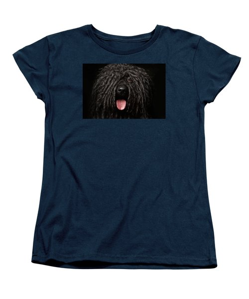 Close Up Portrait Of Puli Dog Isolated On Black Women's T-Shirt (Standard Cut) by Sergey Taran