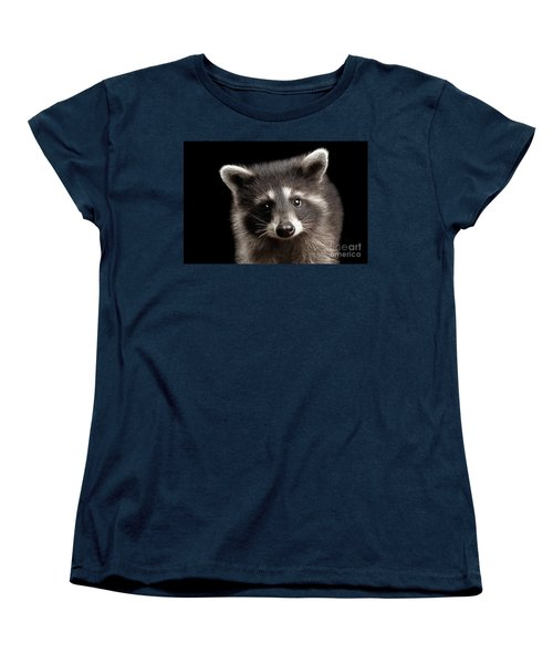 Closeup Portrait Cute Baby Raccoon Isolated On Black Background Women's T-Shirt (Standard Cut) by Sergey Taran