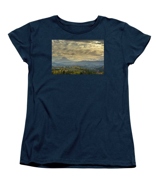 Clouds And Sun Rays Over Mount Hood And Hood River Oregon Women's T-Shirt (Standard Fit)