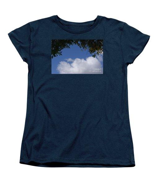 Clouds Framed By Tree Women's T-Shirt (Standard Cut) by Nora Boghossian
