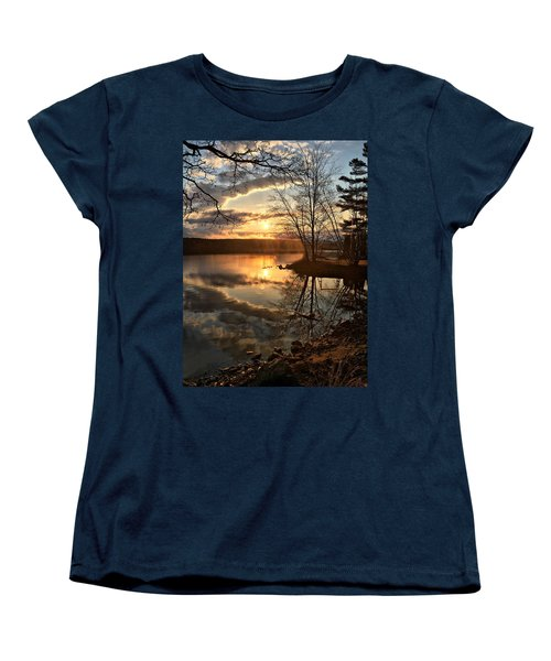 Clouds, Reflection And Sunset  Women's T-Shirt (Standard Cut) by Betty Pauwels