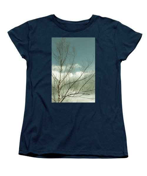 Women's T-Shirt (Standard Cut) featuring the photograph Cloudy Blue Sky Through Tree Top No 1 by Ben and Raisa Gertsberg