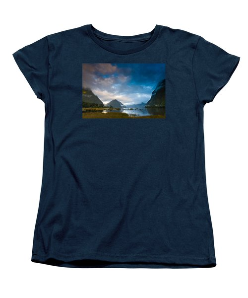 Cloudy Morning At Milford Sound At Sunrise Women's T-Shirt (Standard Cut) by Ulrich Schade