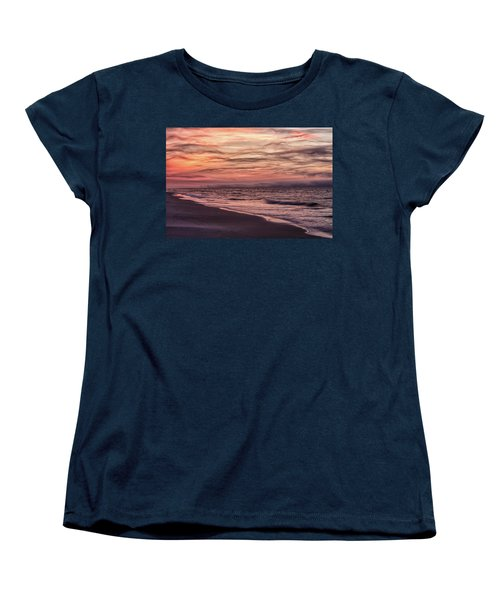 Women's T-Shirt (Standard Cut) featuring the photograph Cloudy Sunrise At The Beach by John McGraw