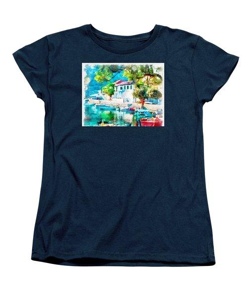 Coastal Cafe Greece Women's T-Shirt (Standard Cut) by Yanni Theodorou