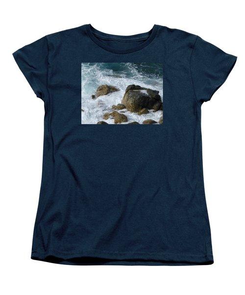 Coastal Rocks Trap Water Women's T-Shirt (Standard Cut) by Margaret Brooks