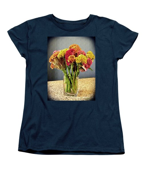 Women's T-Shirt (Standard Cut) featuring the photograph Cockscomb Bouquet by Sarah Loft