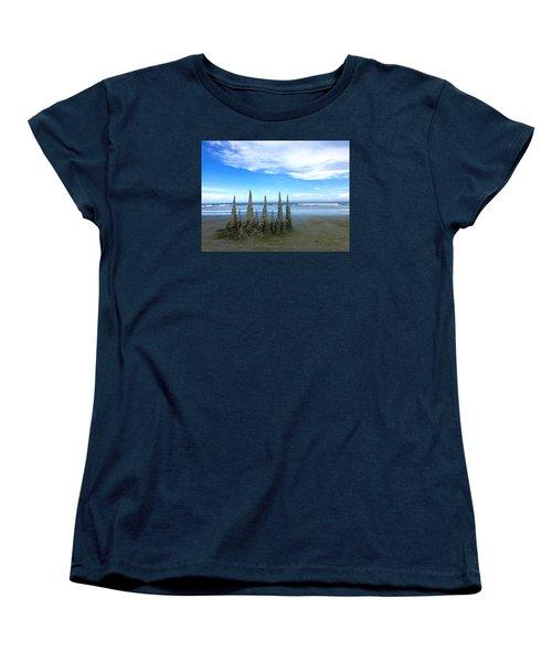 Cocoa Beach Sandcastles Women's T-Shirt (Standard Cut) by Amelia Racca