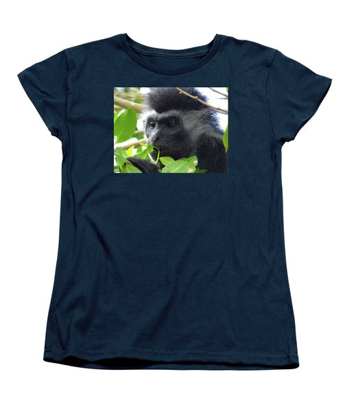 Colobus Monkey Eating Leaves In A Tree Close Up Women's T-Shirt (Standard Fit)