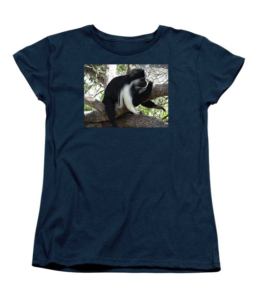 Colobus Monkey Resting In A Tree Women's T-Shirt (Standard Fit)