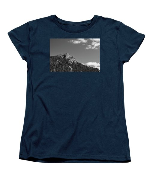 Women's T-Shirt (Standard Cut) featuring the photograph Colorado Buffalo Rock With Waxing Crescent Moon In Bw by James BO Insogna
