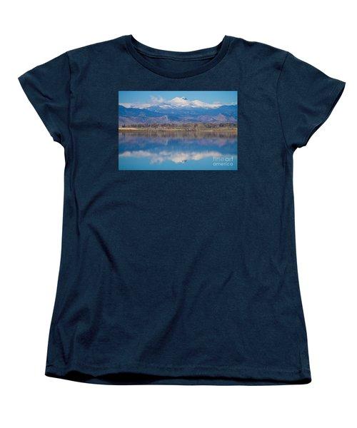 Colorado Longs Peak Circling Clouds Reflection Women's T-Shirt (Standard Cut) by James BO  Insogna
