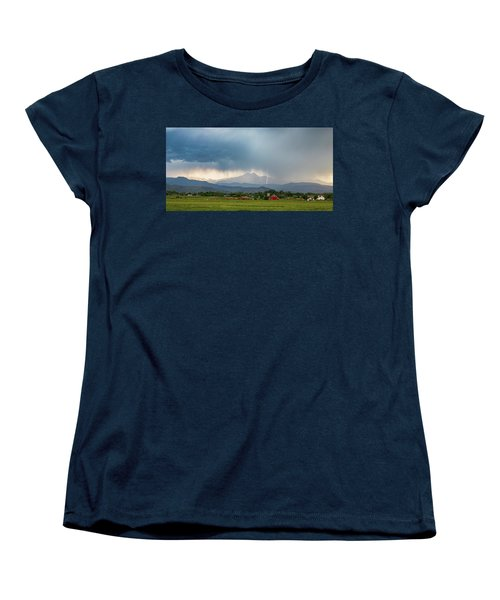 Women's T-Shirt (Standard Cut) featuring the photograph Colorado Rocky Mountain Red Barn Country Storm by James BO Insogna