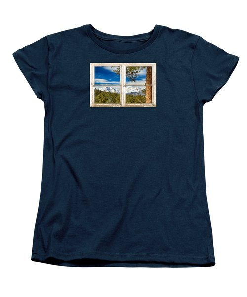 Colorado Rocky Mountain Rustic Window View Women's T-Shirt (Standard Cut) by James BO  Insogna