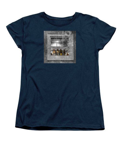 Women's T-Shirt (Standard Cut) featuring the photograph Colored Bottles In Window by Tom Singleton