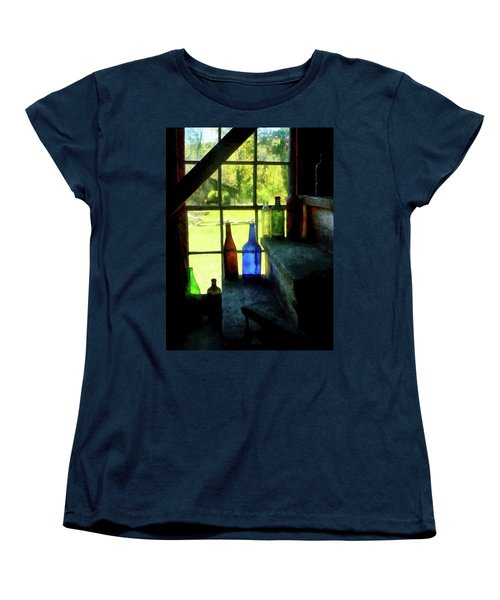 Women's T-Shirt (Standard Cut) featuring the photograph Colored Bottles On Steps by Susan Savad