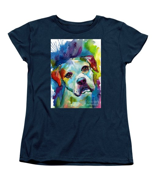 Colorful American Bulldog Dog Women's T-Shirt (Standard Cut) by Svetlana Novikova