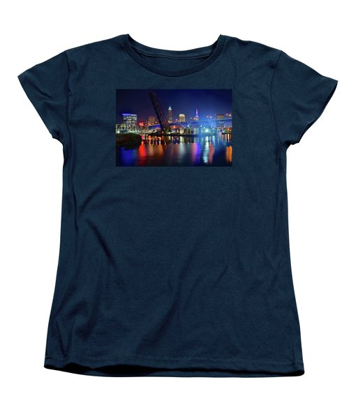 Women's T-Shirt (Standard Cut) featuring the photograph Colorful Cleveland Lights Shimmer Bright by Frozen in Time Fine Art Photography