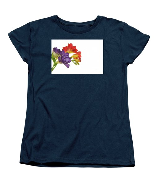 Colorful Freesias Women's T-Shirt (Standard Cut) by Elvira Ladocki
