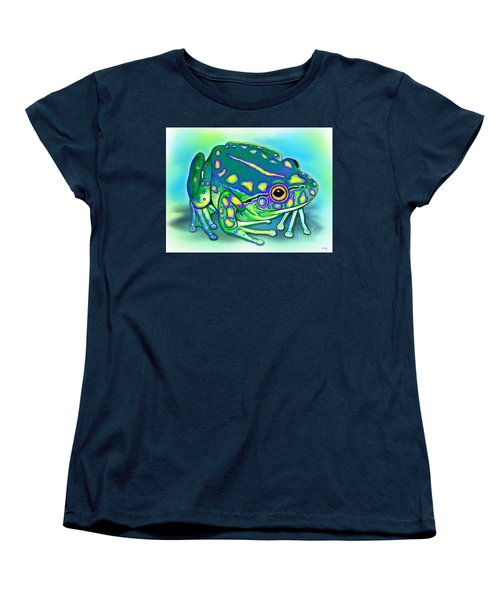 Women's T-Shirt (Standard Cut) featuring the painting Colorful Froggy by Nick Gustafson
