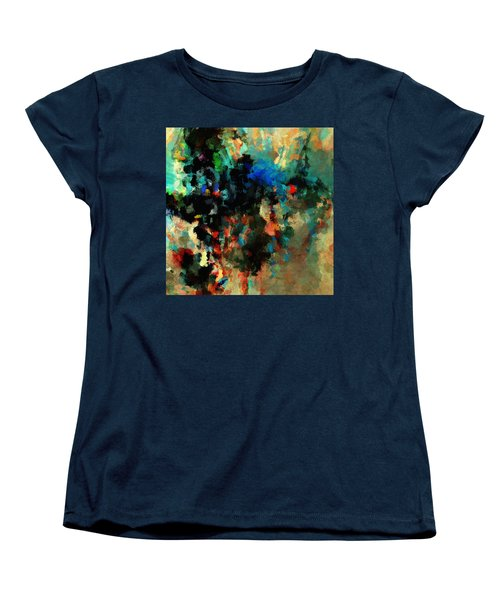 Women's T-Shirt (Standard Cut) featuring the painting Colorful Landscape / Cityscape Abstract Painting by Ayse Deniz